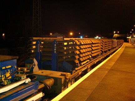 Balfour Beatty track relaying train - steel sleepers
