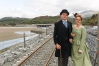 The Ffestiniog Railway's Emily High and Stephen Greig at Llandecwyn halt