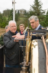 "Julian Birley points out the finer points of Quarry Hunslet ""Winifred"" to Pete Waterman at Llanuwchllyn"