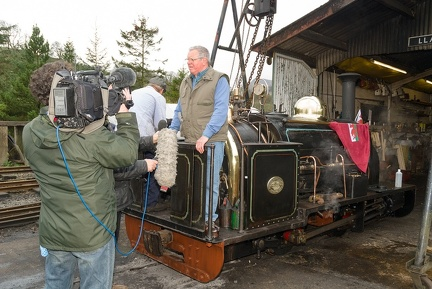 "Emrys Owen interviewed by the BBC on Quarry Hunslet ""Winifred"" at Llanuwchllyn"
