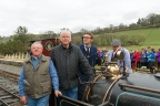 "Emrys Owen, Pete Waterman, Rob Houghton, and Roger Hine arrive at Llanuwchllyn on Quarry Hunslet ""Winifred"""