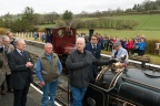 "Dafydd Gwyn, Emrys Owen, Pete Waterman, Rob Houghton, and Roger Hine at Llanuwchllyn with Quarry Hunslet ""Winifred"""
