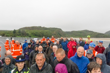 The assembled crowd at Pont Briwet