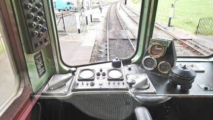 Cab of BRCW Class 110 DMU DMBC 51813 at Carrog