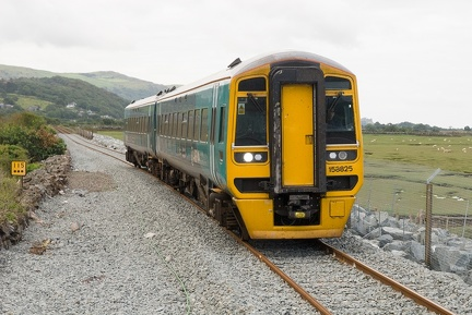 158825 arriving at the new Llandecwyn halt with the 2J03 08:57 Machynlleth to Pwllheli